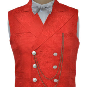 Vintage Steampunk Waistcoat Red Men's Double Breasted Suit Vest Pocket Watch Chain Back Strap Jacquard Retro Costume Halloween