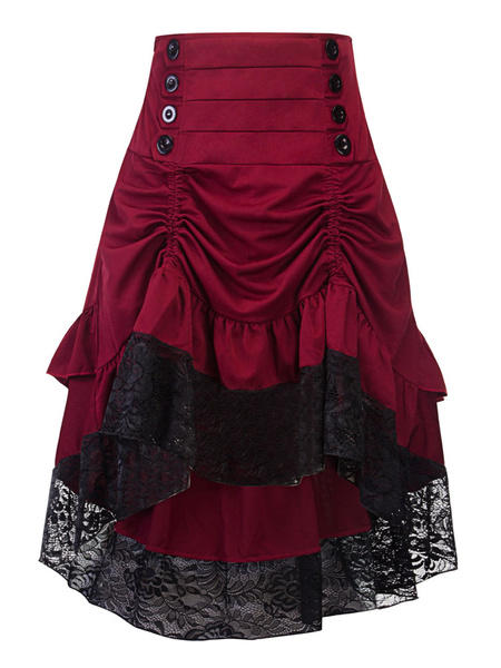 Women Gothic Costume Buttons Ruffle Lace Burgundy Retro Skirt Halloween
