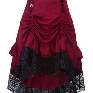 Women Gothic Costume Buttons Ruffle Lace Burgundy Retro Skirt Halloween