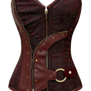 Women Steampunk Corset Jacquard Lace Up Retro Cosutume Clothing
