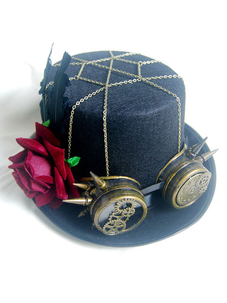 Women Steampunk Goggle Hat Halloween Costume Black Chain Rivet Flower Top Hat