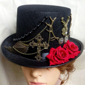 Women Steampunk Hat Halloween Costume Black Chain Gear Flower Top Hat