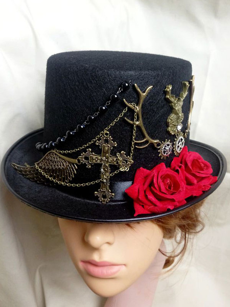 Women Steampunk Hat Halloween Costume Black Chain Gear Flower Top Hat