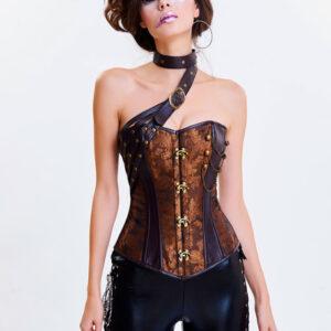 Women's Vintage Costume Steampunk Overbust Corset Choker Waist Cincher