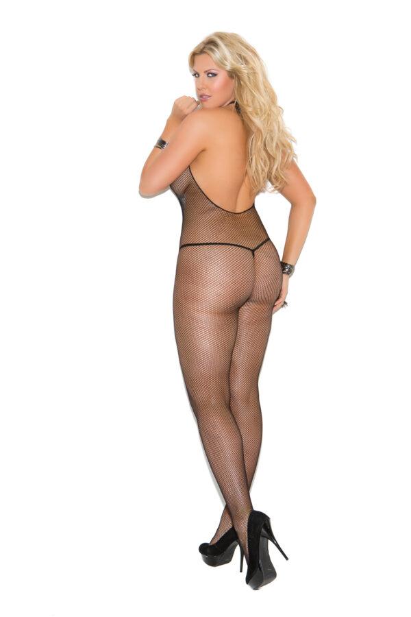 Fishnet Halter Body Stocking - Queen Size - Black