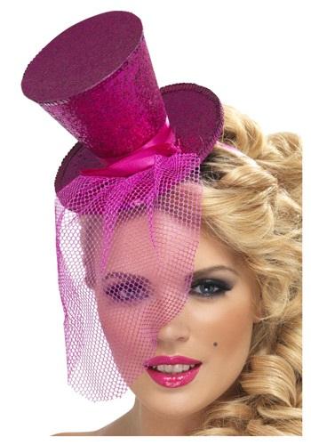 Hot Pink Glitter Mini Top Hat