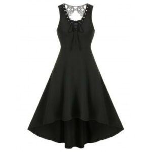 Lace Insert High Low Sleeveless Gothic Dress