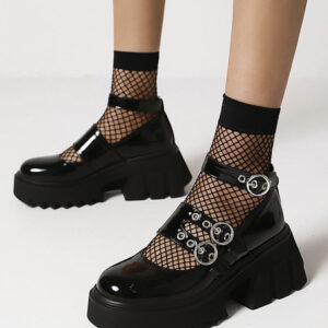 Milanoo Gothic Lolita Footwear Black Round Toe PU Leather Lace-Up Daily Casual Lolita Shoes
