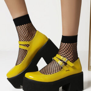 Milanoo Gothic Lolita Footwear Yellow PU Leather Round Toe Daily Casual Lace-Up Lolita Shoes