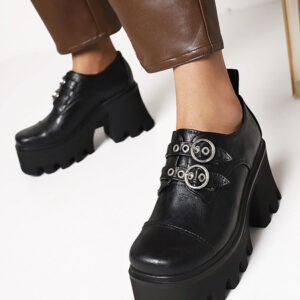 Milanoo Steampunk Lolita Footwear Black Round Toe PU Leather Daily Casual Lolita Shoes