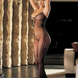 Stretch Fishnet Body Stocking Criss-Cross Front Monk Bending Lace Sides - Black