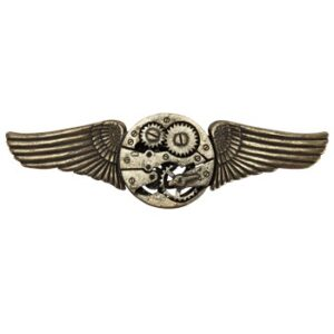 Antique Gear Wing Steampunk Pin