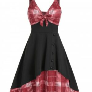 Bowknot Houndstooth Panel Cami A Line Dress