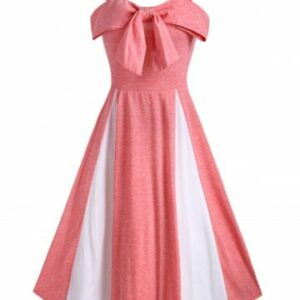 Bowknot Two Tone Cami A Line Dress