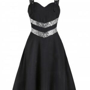 Buckle Strap Chevron Sequins Cami A Line Dress