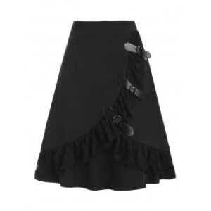 Buckled Lace Insert Mini Gothic A Line Skirt