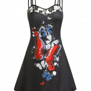 Butterfly Print Lace Panel Cami A Line Dress