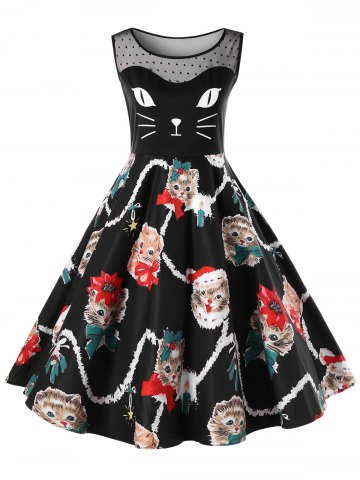 Christmas Plus Size Kitten Pattern Swing Dress