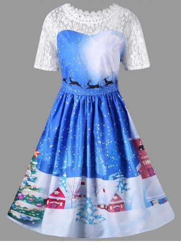 Christmas Plus Size Lace Yoke Vintage Swing Dress