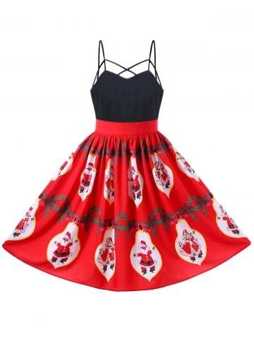 Christmas Santa Claus Strappy 50s Swing Dress