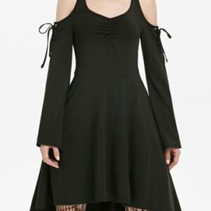 Cold Shoulder Lace up Flare Sleeve Skater Gothic Dress