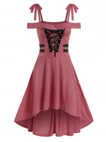 Cold Shoulder Lace up High Low Gothic Dress