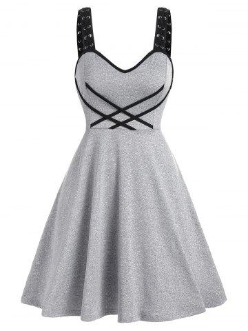 Contrast Crisscross Cami A Line Dress