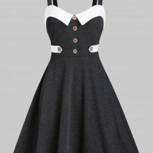 Contrast Trim Mock Button Cami A Line Dress