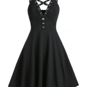 Crisscross Grommet Trim Cami A Line Dress