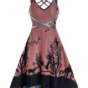 Crisscross Sequins Tree Print Cami A Line Dress