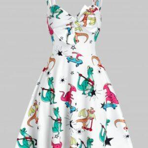 Dinosaur Print Bowknot Cami A Line Dress