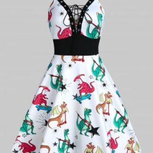 Dinosaur Print Lace Up Cami A Line Dress
