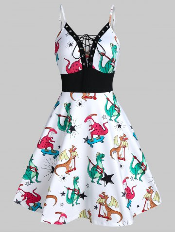 Dinosaur Print Lace Up Cami A Line Dress