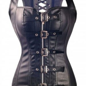 Faux Leather Lace up Boned Buckled Corset Vest