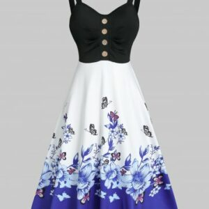 Floral Butterfly Print Mock Button Midi Cami Dress