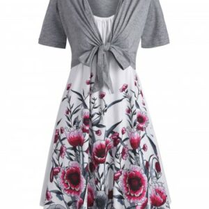 Floral Cami Dress and Tie Front Top