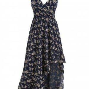 Floral Flounce Asymmetrical Maxi Cami Dress