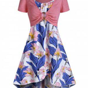 Floral Print Cami Dress With Crop Top Set