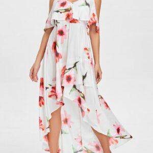 Floral Print Cami Strap Maxi Flowy Dress