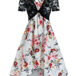 Floral Print Cami Tent Dress And Lace Crop Top Sets