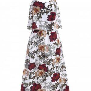 Floral Print Crisscross Flounce Overlay Cami Dress