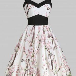 Floral Print Empire Waist A Line Cami Dress