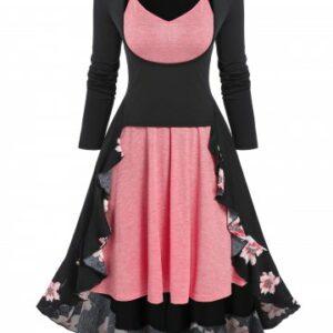Floral Print Flounced Midi Dress and Cami Dress Set
