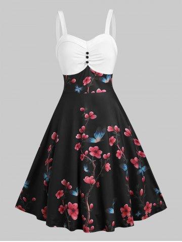 Floral Print Mock Button Cami A Line Dress