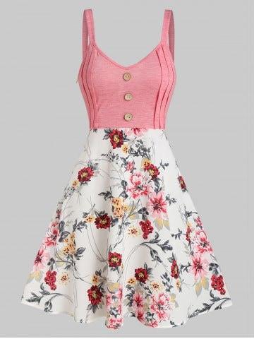Floral Print Mock Button High Waist Cami Dress