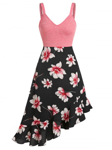 Floral Print Ruffled Hem Empire Waist Cami Dress