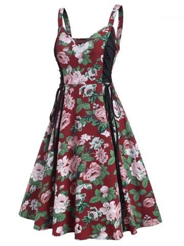 Floral Print Side Lace Up High Waist Cami Dress