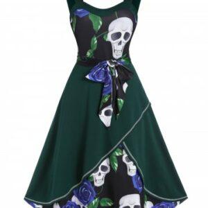 Floral Skull Print Belted Cami A Line Dress