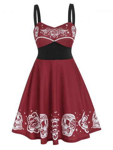 Floral Skull Print Gothic Mini Cami Dress