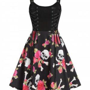Floral Skull Print Lace Up Mini Cami Dress